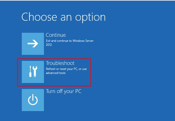 choose an option - نحوه تغییر رمز اکانت Administrator در ویندوز سرور 2012