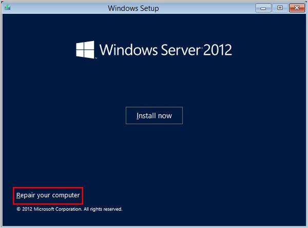 repair your computer - نحوه تغییر رمز اکانت Administrator در ویندوز سرور 2012