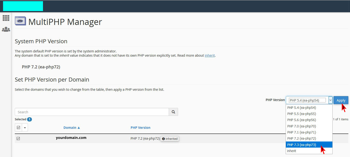 select php version - تغییر ورژن php در سی پنل