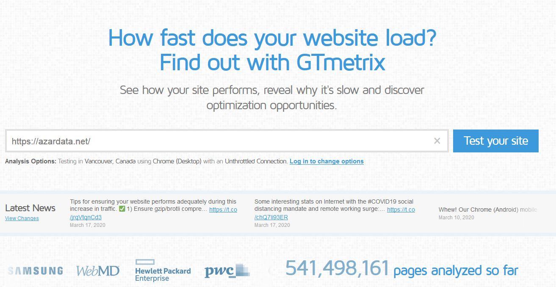 GTmetrix - ابزار های تست سرعت سایت