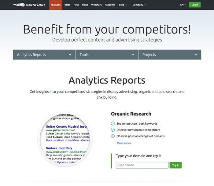 SEM Rush - ابزارهای تجزیه و تحلیل وب سایت