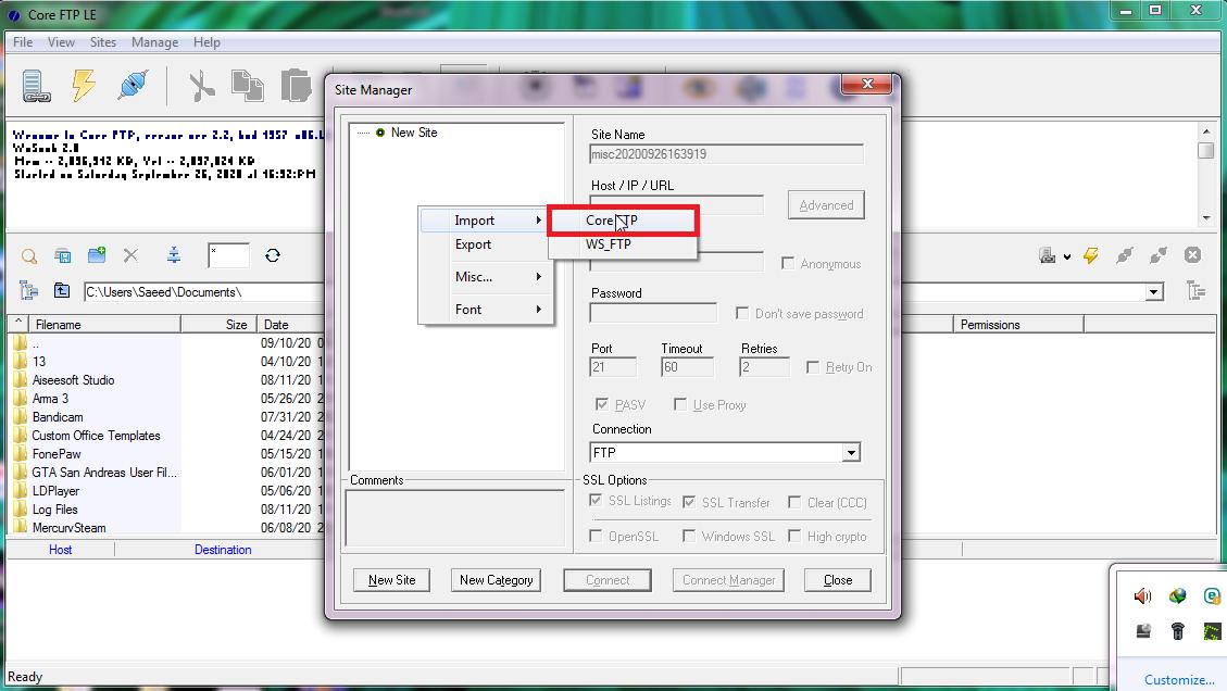 coreftp using03 - آموزش اتصال به Ftp در سی پنل (cPanel) با CoreFTP