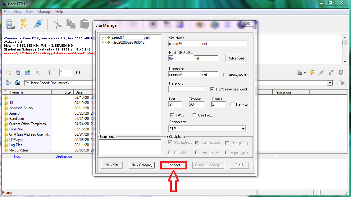 coreftp using04 - آموزش اتصال به Ftp در سی پنل (cPanel) با CoreFTP