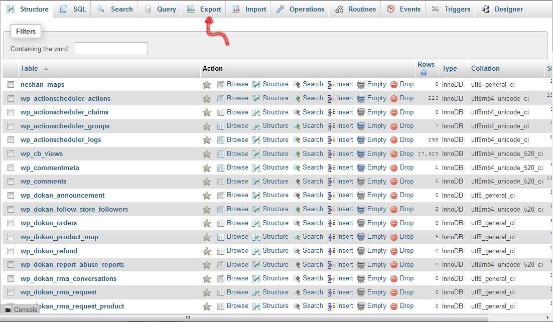 export database01 - بک آپ گیری و ایمپورت کردن دیتابیس