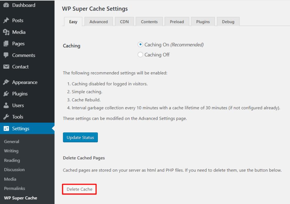 clear wp cache02 - نحوه حذف کش در وردپرس