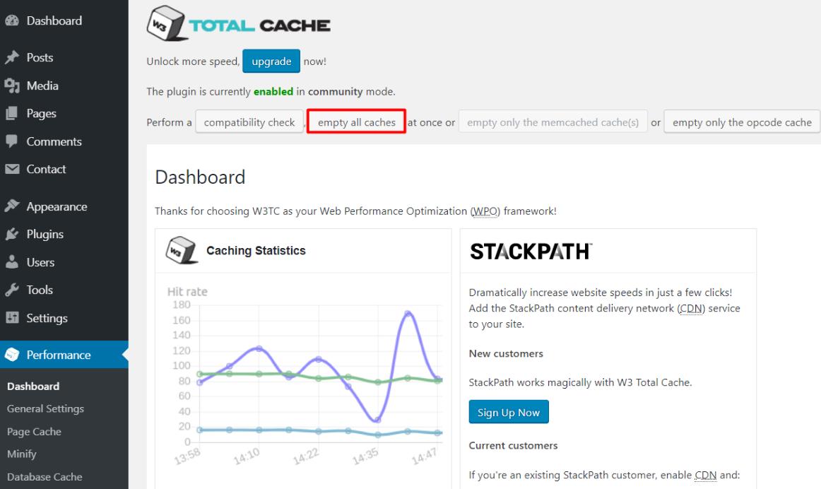 clear wp cache04 - نحوه حذف کش در وردپرس