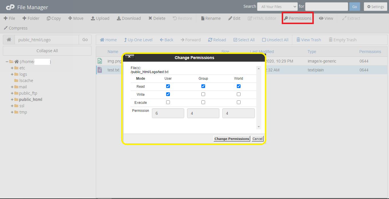 file permissions cp01 - مجوز ها و دسترسی های فایل در سی پنل