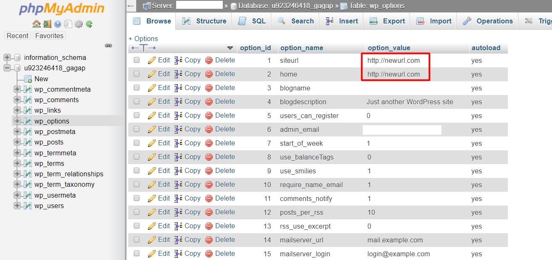 change wordpress url in mysql database phpmyadmin06 - نحوه تغییر URL های وردپرس در MySQL با استفاده از phpMyAdmin
